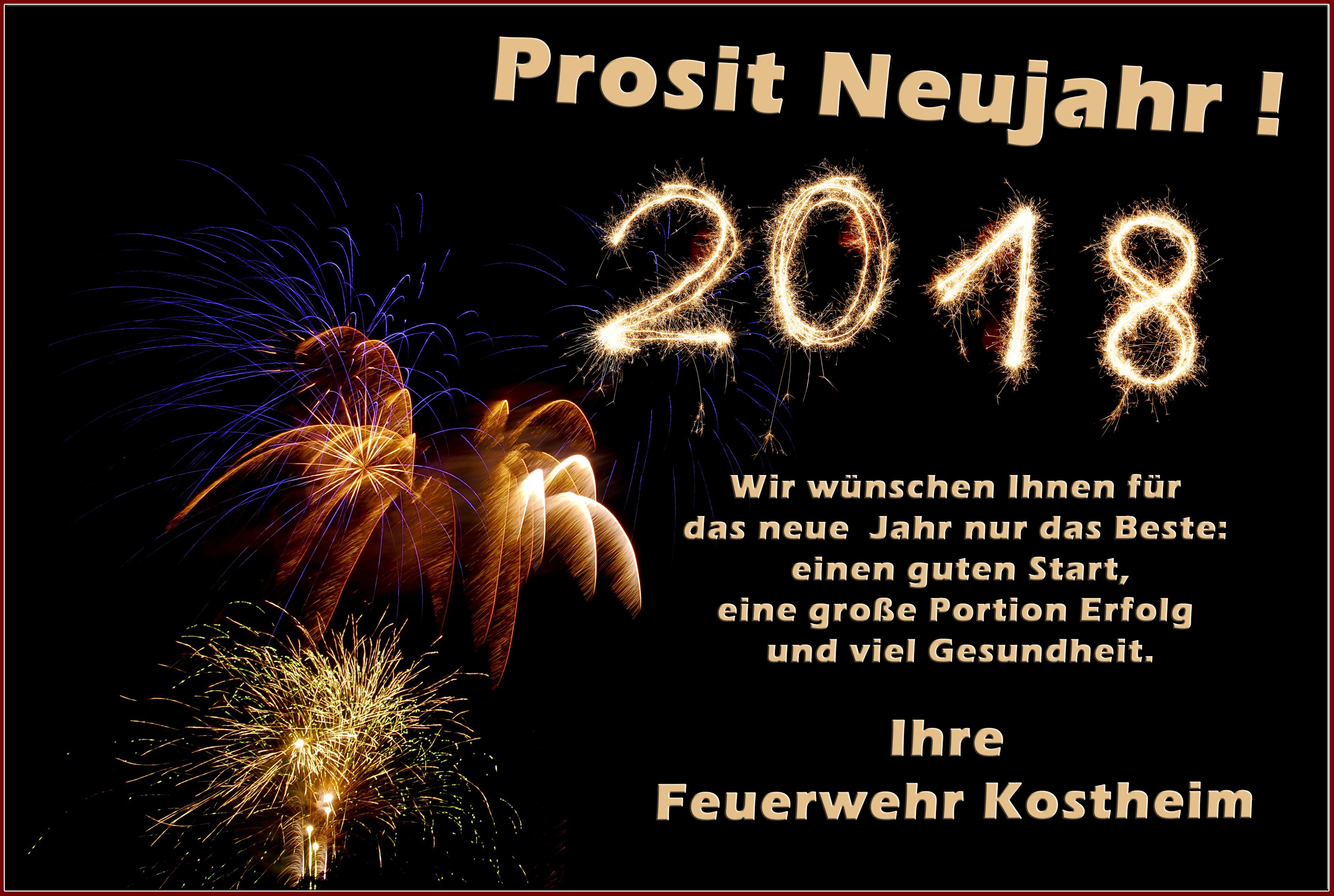 Kostheimer Feuerwehr wünscht allen ein frohes, neues Jahr ...